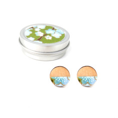 Birch, chiyogami and sterling silver blue blossom studs in chiyogami gift tin
