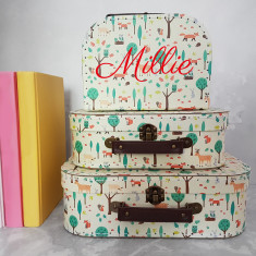 Personalised Woodland Animals Suitcase Storage Box Trio