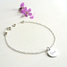 Personalised Sterling Silver Tiny Love Disc Bracelet