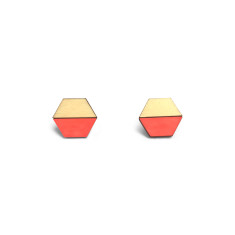 Hexagon half earring studs - neon red