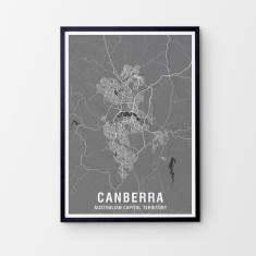 Canberra two-tone map print (various colours)