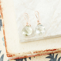 Hera Hooded Drop Earrings With Green Amethyst In Rose Gold Plate