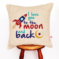 I love you to the moon and back linen cushion cover