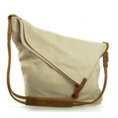 Canvas cross body bag with leather straps in beige
