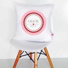 Personalised Girls' Badge Cushion Cover (2 colour options available)