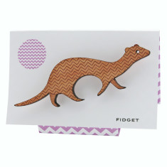 Fidget the ferret chevron patterned wooden brooch