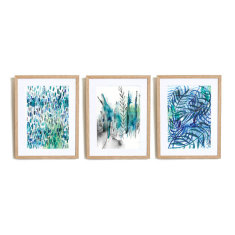 Set of 3 Nature In Blue Art Prints abstract illustration in blue ink