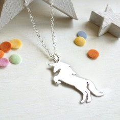 Personalised Sterling Silver Unicorn Necklace
