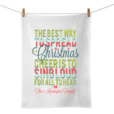 Christmas cheer personalised tea towel
