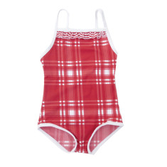 Girls one piece bathers in red plaid