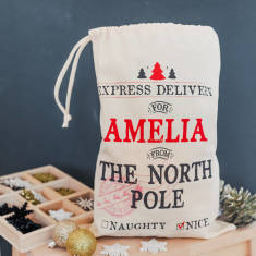 Personalised Express Delivery Mini Christmas Sack
