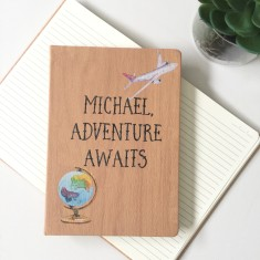 Personalised travel journal - adventure awaits wood look notebook