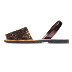 Joan leather glitter sandals in bronze