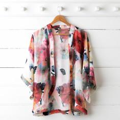 Poppy Silk Kimono Top