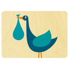Blue baby stork wooden card