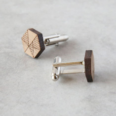 Geometric solid timber cufflinks