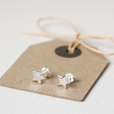 Tiny Silver Star Earrings