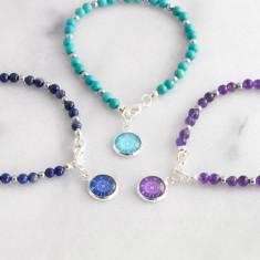 Gemstone Compass Charm Bracelet
