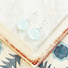Hera Hooded Drop Earrings In Silver With Aqua Chalcedony