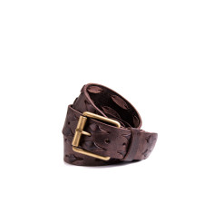 Weave leather belt in brown