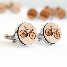 Bicycle cufflinks - laser engraved bamboo & stainless steel