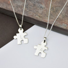 Jigsaw Friendship Personalised Silver Necklace Set