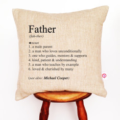 Father's personalised dictionary cushion cover