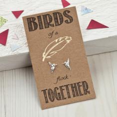 Birds of a feather friendship silver stud earrings