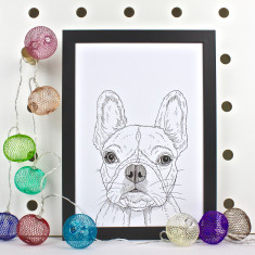 French Bulldog Dog Line Portrait Print