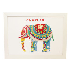 Personalised elephant framed art print