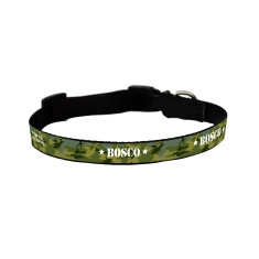 Personalised dog collar in camouflage