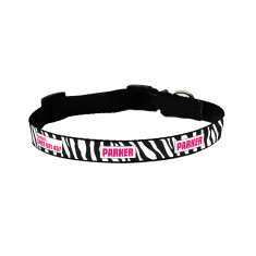 Personalised dog collar in zebra print