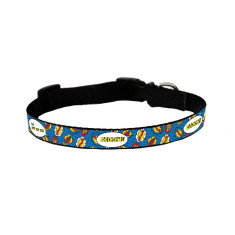 Personalised dog collar in comic pop