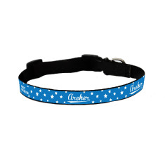 Personalised dog collar in blue stars