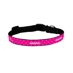 Personalised dog collar in pink hearts