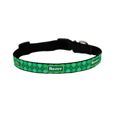 Personalised dog collar in argyle