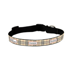 Personalised furberry dog collar in oatmeal, pink or blue