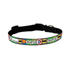 Personalised dog collar in superheroes print