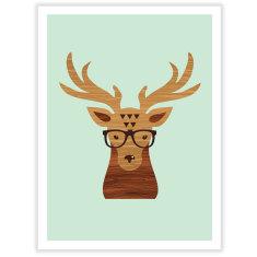 Hipster Deer wall art print