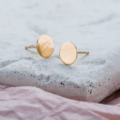 Hammered 9ct Gold Disc Earrings