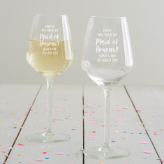 Personalised 'Will You Be My Maid Of Honour?' Wine Glass