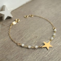 Personalised Gold Little Star and Moonstone Bracelet