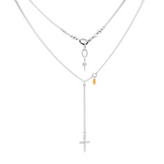Sterling silver, gold and CZ cross necklace