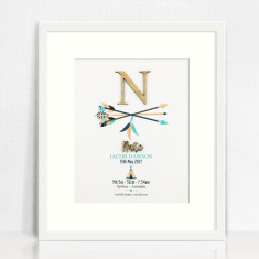 Bamboo Arrows Personalised Birth Details Print