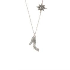 Glass slipper long necklace