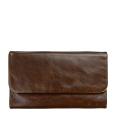 Audrey leather wallet in chocolate