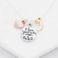 I love you to the moon and back necklace in silver, gold and rose gold