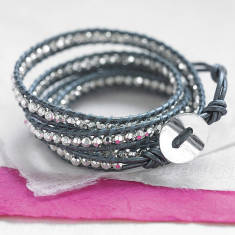 Metallic Grey Leather Multi Wrap Bracelet