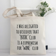 Book Club Wine Club Tote Bag