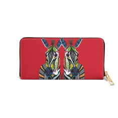 Zebra Love Vegan Leather Red Wallet